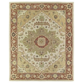 Hand-Tufted Joaquin Heriz Oatmeal Wool Rug (5' x 7'9)