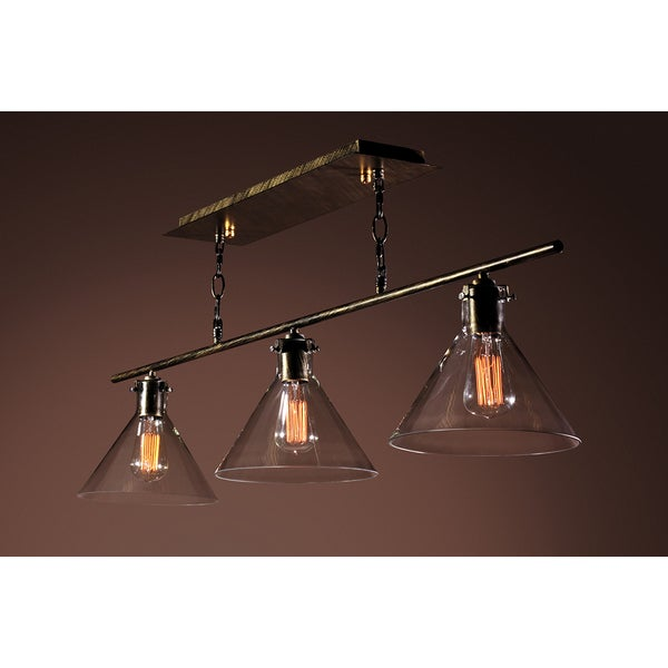 Amerie 3-light Black Island Edison Lamp with Bulbs