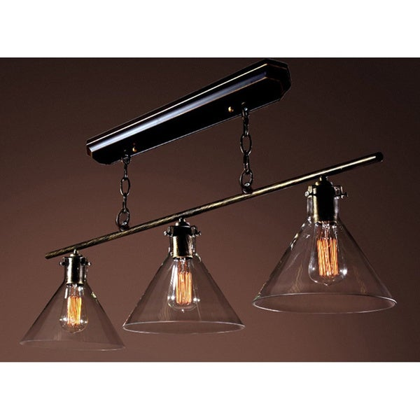 Amerie 3-light Black Island Edison Lamp with Bulbs