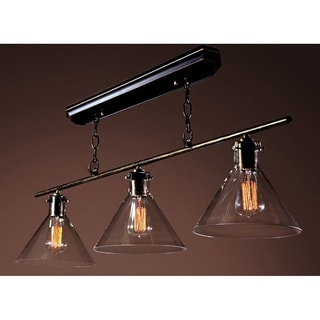 Amerie 3-light Black Island Edison Chandelier with Bulbs