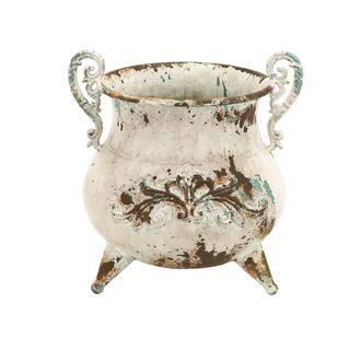 White Rustic Metal Vase