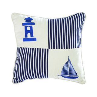 Nautical Blue/ White 18-inch Linen Decorative Throw Pillow