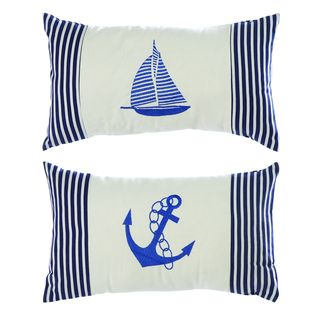 Nautical Blue/ White Linen Decorative Throw Pillows (Set of 2)