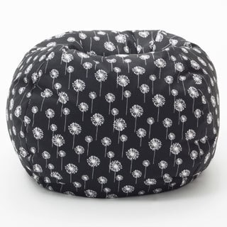 BeanSack Classic Heavy-duty Twill Black/ White Dandelion Print Bean Bag Chair