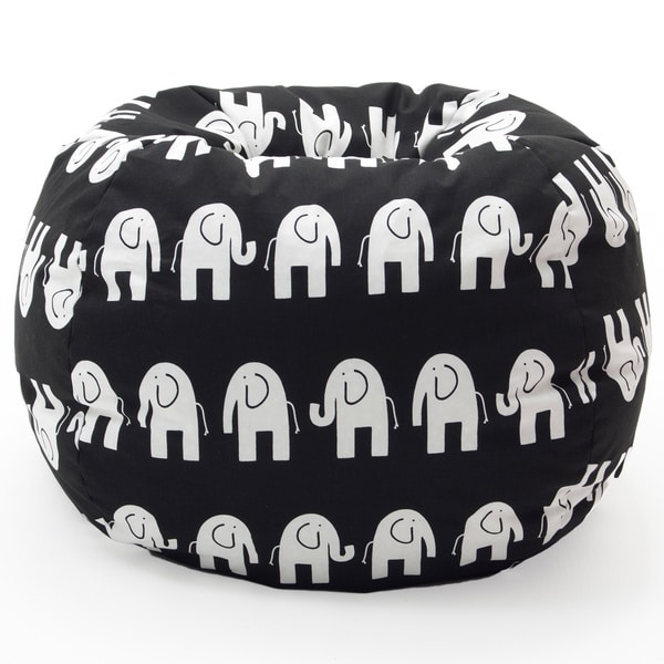 BeanSack Classic Heavy-duty Twill Black/ White Elephants Print Bean Bag Chair