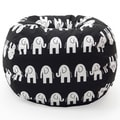 BeanSack Classic Heavy-duty Twill Black/ White Elephants Print Bean Bag Chair
