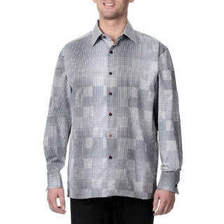 Steve Harvey Men's Check Button Down Shirt