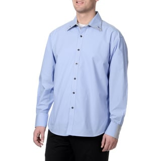 Steve Harvey Men's Blue Button Down Shirt with Checkered Print