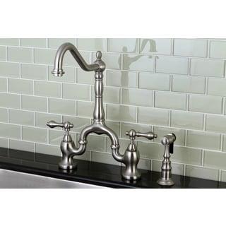 Victorian High Spout Satin Nickel Bridge Double-handle Kitchen Faucet