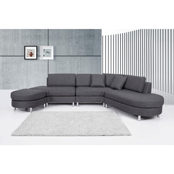 Copenhagen Contemporary Italian Design Grey Fabric Sectional Sofa Set