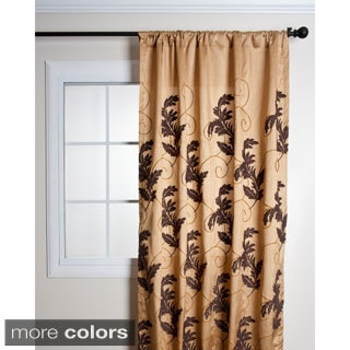 French Knot Leaf Design Embroidered Curtain Panel