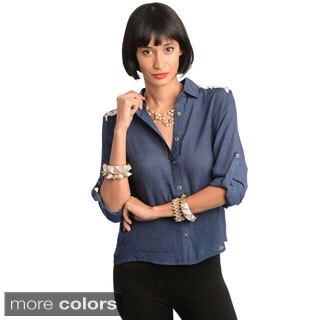 Stanzino Women's Tab Sleeve Embroidered Back Shirt
