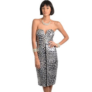Stanzino Women's Silver Animal Print Sweetheart Party Dress