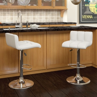 CorLiving B-6X7-UPD Low Back Leatherette Adjustable Bar Stools (Set of 2)