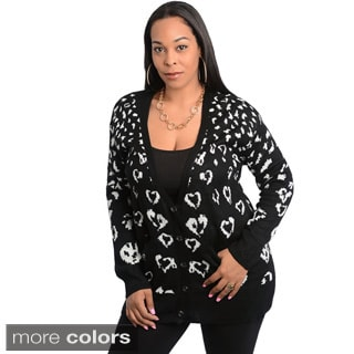 Stanzino Women's Plus Size Heart Print Long Sleeve Cardigan