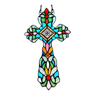 Tiffany Style Cross Design Window Panel/ Suncatcher