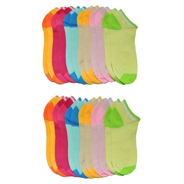 Pastel Two-tone Cotton Blend Ankle Socks (12 pairs)