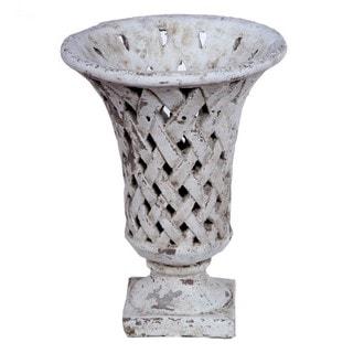 Privilege Medium Ceramic Weave Grey Vase