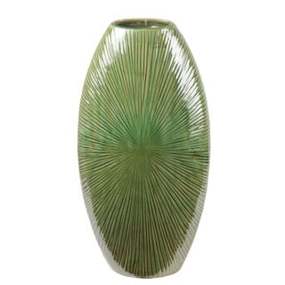 Privilege Large Green Flat Ceramic Vase