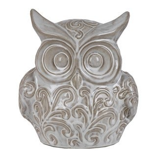 Privilege White Decorative Ceramic Owl