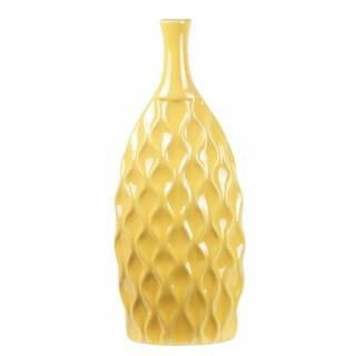 Privilege Tall Ceramic Flat Yellow Vase