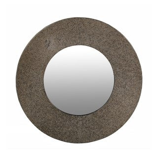 Privilege Large Round Metal Beveled Mirror