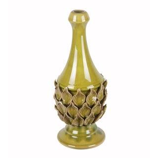 Privilege Medium Green Crackled Leaves Ceramic Vase
