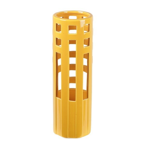 Privilege Rectangle-pierced Summer Yellow Ceramic Vase