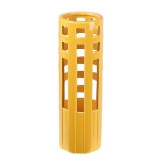 Privilege Rectangle-pierced Summer Yellow Ceramic Vase
