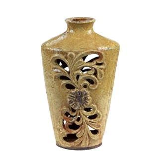 Privilege Floral-pierced Cream Yellow Ceramic Vase