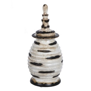 Accent White and Black Medium Ceramic Jar