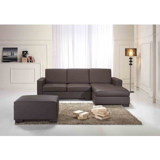 Beliani Malmo Brown Leather Sectional Corner Sofa Set