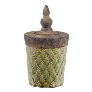 Privilege Large Green Lidded Decorative Ceramic Box