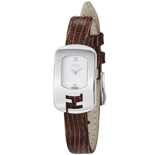 Fendi Women's F300024021D1 'Chameleon' White Dial Brown Leather Strap Quartz Watch