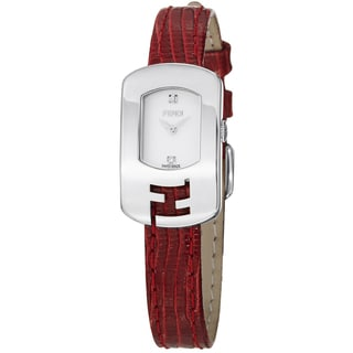 Fendi Women's 'Chameleon' White Dial Red Leather Strap Quartz Watch