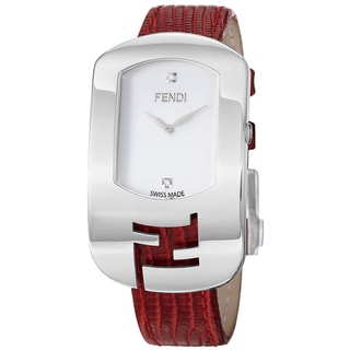 Fendi Women's 'Chameleon' White Diamond Dial Red Leather Strap Watch