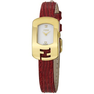 Fendi Women's F300424073D1 'Chameleon' Goldtone Red Leather Strap Quartz Watch