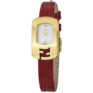 Fendi Women's 'Chameleon' Goldtone Red Leather Strap Quartz Watch