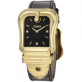 Fendi Women's 'B. Fendi' Black Dial Brown Metallic Leather Strap Watch