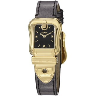Fendi Women's F380421021D1 'B. Fendi' Black Diamond Dial Brown Strap Watch