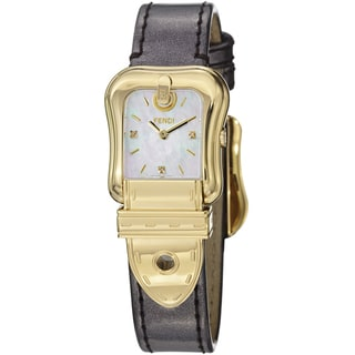 Fendi Women's F380424521D1 'B. Fendi' Mother of Pearl Diamond Dial Strap Watch