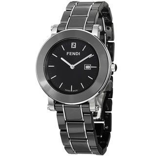 Fendi Women's 'Ceramic' Black Dial Black Ceramic Bracelet Watch