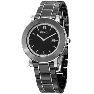 Fendi Women's F641110D 'Ceramic' Black Diamond Dial Black Bracelet Watch