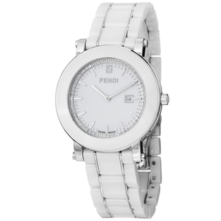 Fendi Women's 'Ceramic' White Diamond Dial White Bracelet Watch
