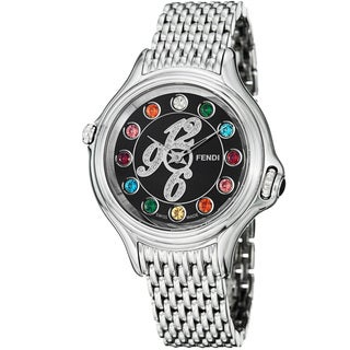 Fendi Women's 'Crazy Carats' Black Dial Stainless Steel Quartz Watch