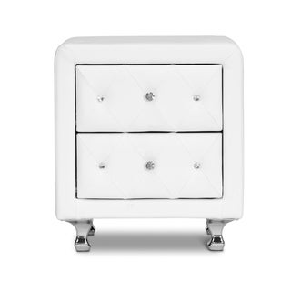 Stella Crystal Tufted White Upholstered Modern Nightstand