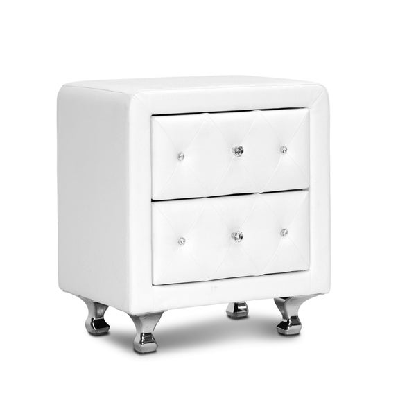 Stella Crystal Tufted White Upholstered Modern Nightstand - 15910712 ...