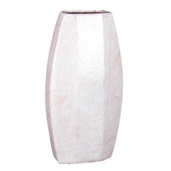 Privilege 17-inch High White Ceramic Vase