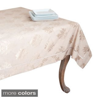 Drawnwork Damask Cotton-blend Tablecloth