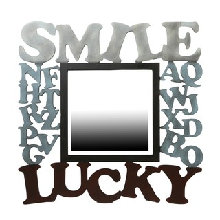 Privilege 'Smile, Lucky' Wooden Wall Mirror